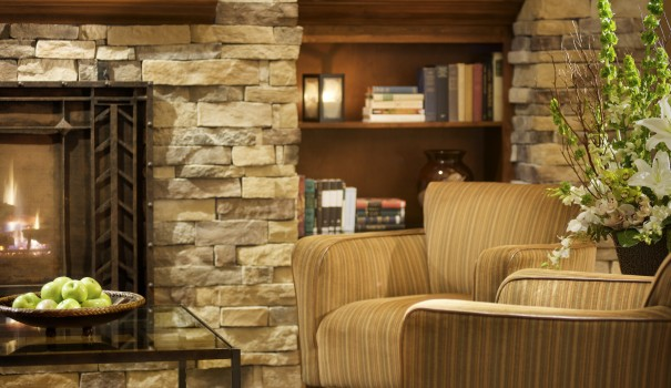 Larkspur Landing Living Room by the fire