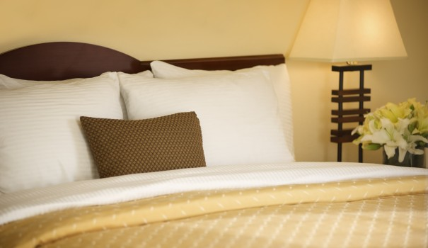 Plush pillows at Larkspur Landing hotel
