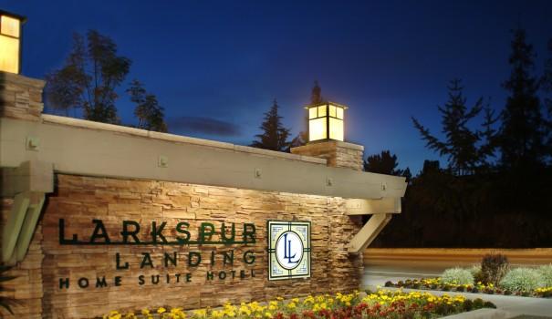 Larkspur Landing hotel sign